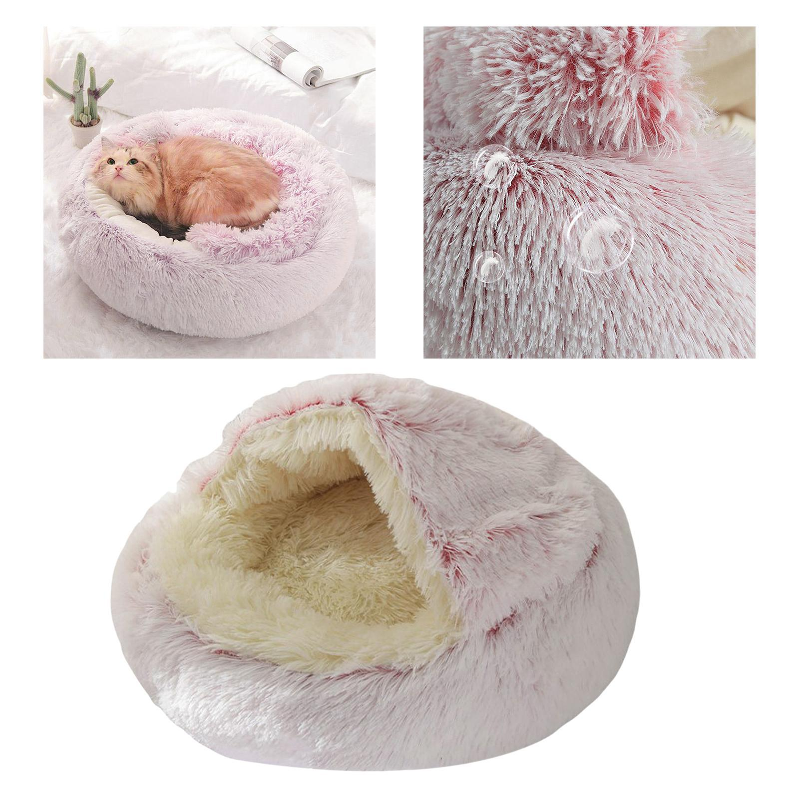 thumbnail 8 - Plush Pet Dog Cat Bed Fluffy Soft Warm Calming Bed Sleeping Kennel Cave Nest