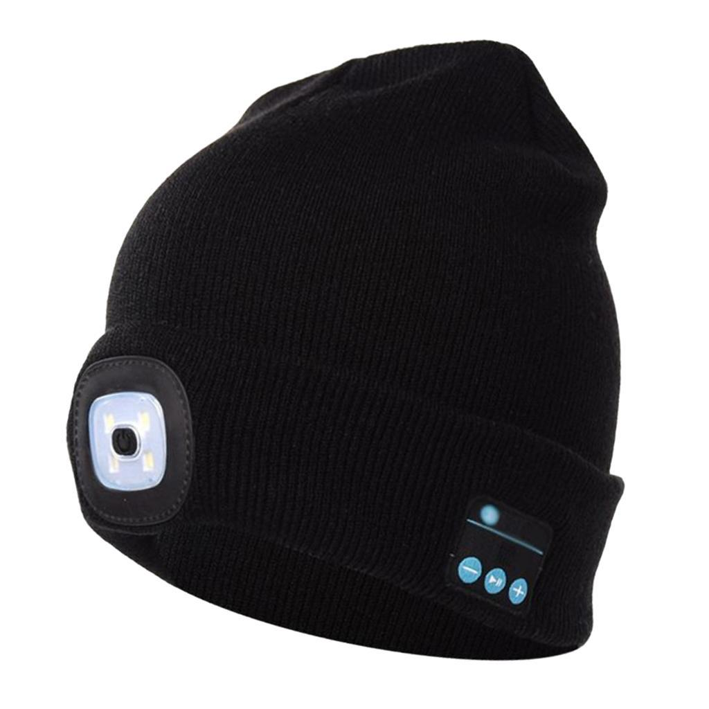 LED Lighted Hat with Built-in Stereo Speakers /& Mic,Unisex USB Rechargeable Headset Knitted Cap for Outdoor,Sports,Camping,Hiking,Walking PRAVETTE Bluetooth Beanie Hat