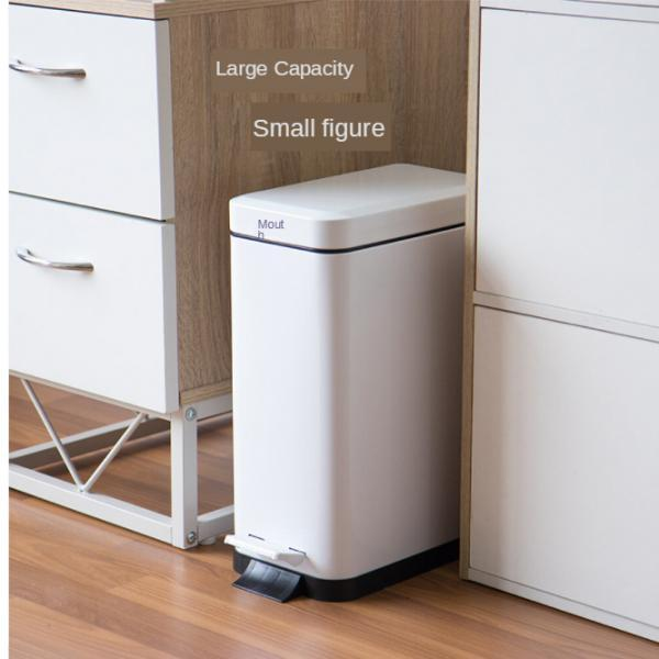 bathroom trash can with removable step-on lid rectangular