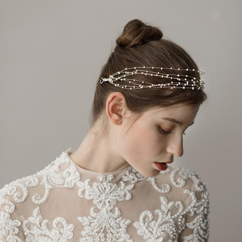 Golden-Wedding-Bridal-Hair-Vine-Headband-Pearls-Tiara-Crown-Headpiece thumbnail 8