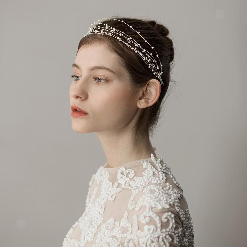 Golden-Wedding-Bridal-Hair-Vine-Headband-Pearls-Tiara-Crown-Headpiece thumbnail 7