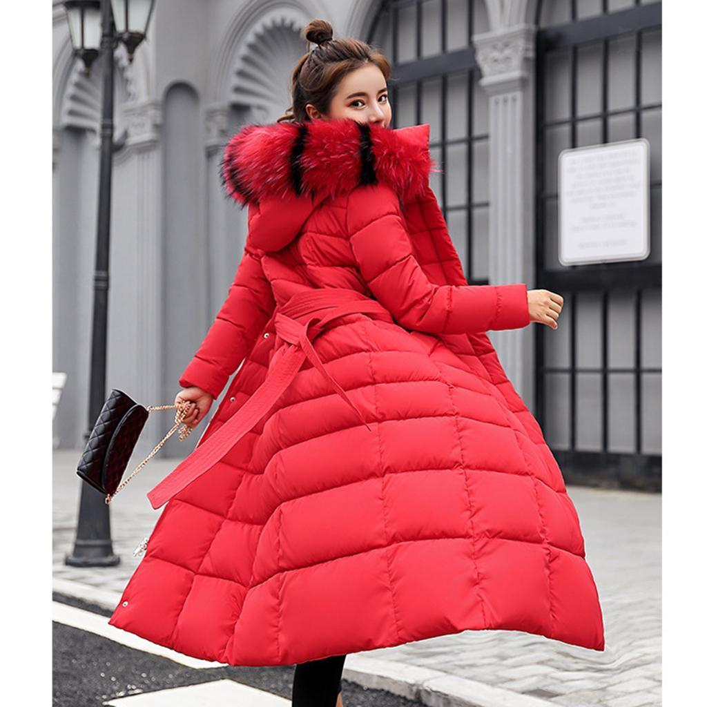 miniature 10 - Manteau long en duvet pour femmes avec col en fausse fourrure Veste matelassée