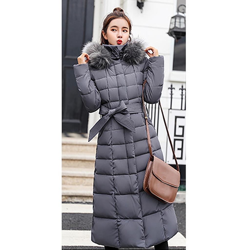 miniature 32 - Manteau long en duvet pour femmes avec col en fausse fourrure Veste matelassée