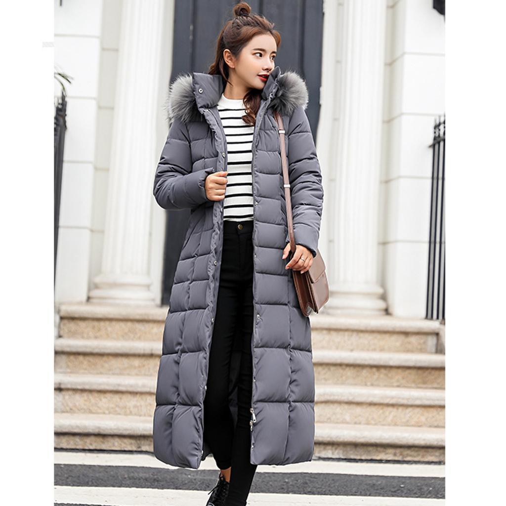 miniature 31 - Manteau long en duvet pour femmes avec col en fausse fourrure Veste matelassée