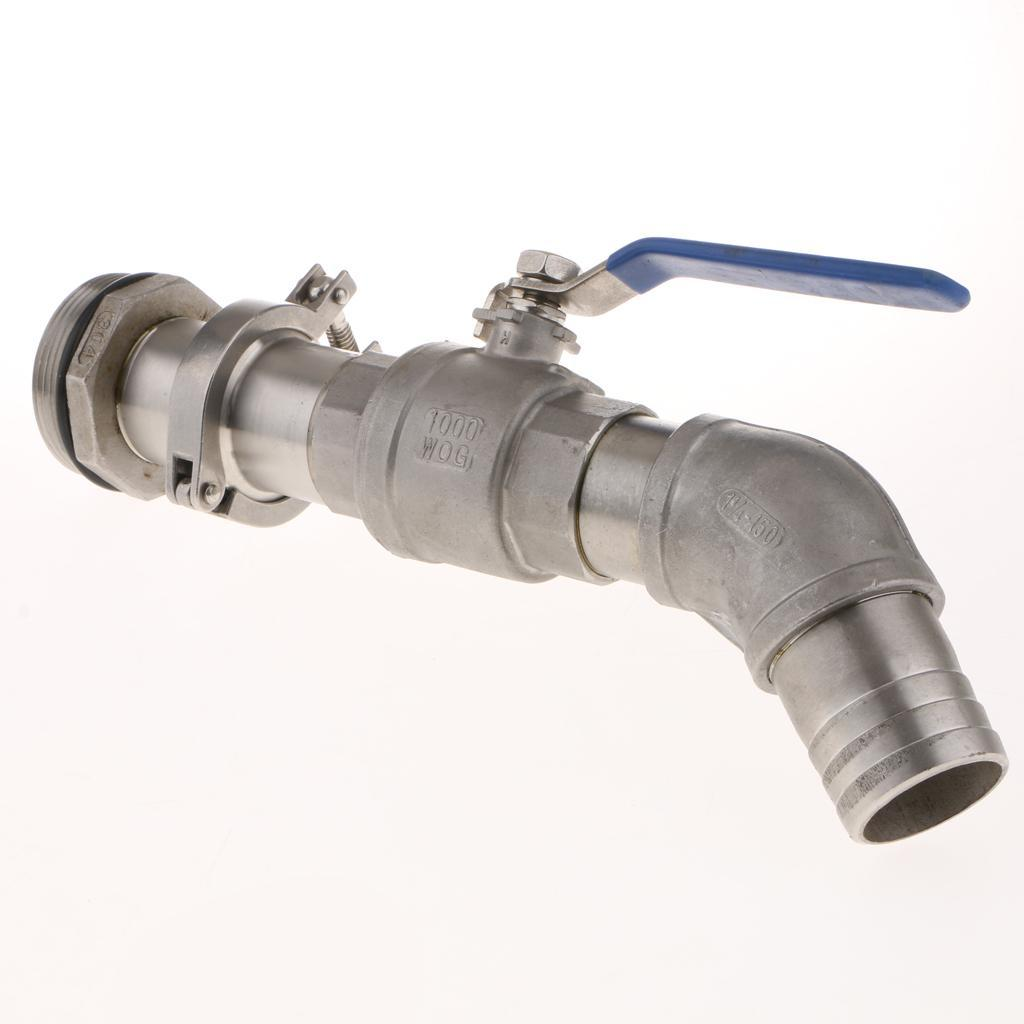 thumbnail 7 - 45DTilt Nozzl Ball Valve Drum Adapter for 200L Stainless Steel 40.5MM Outlet