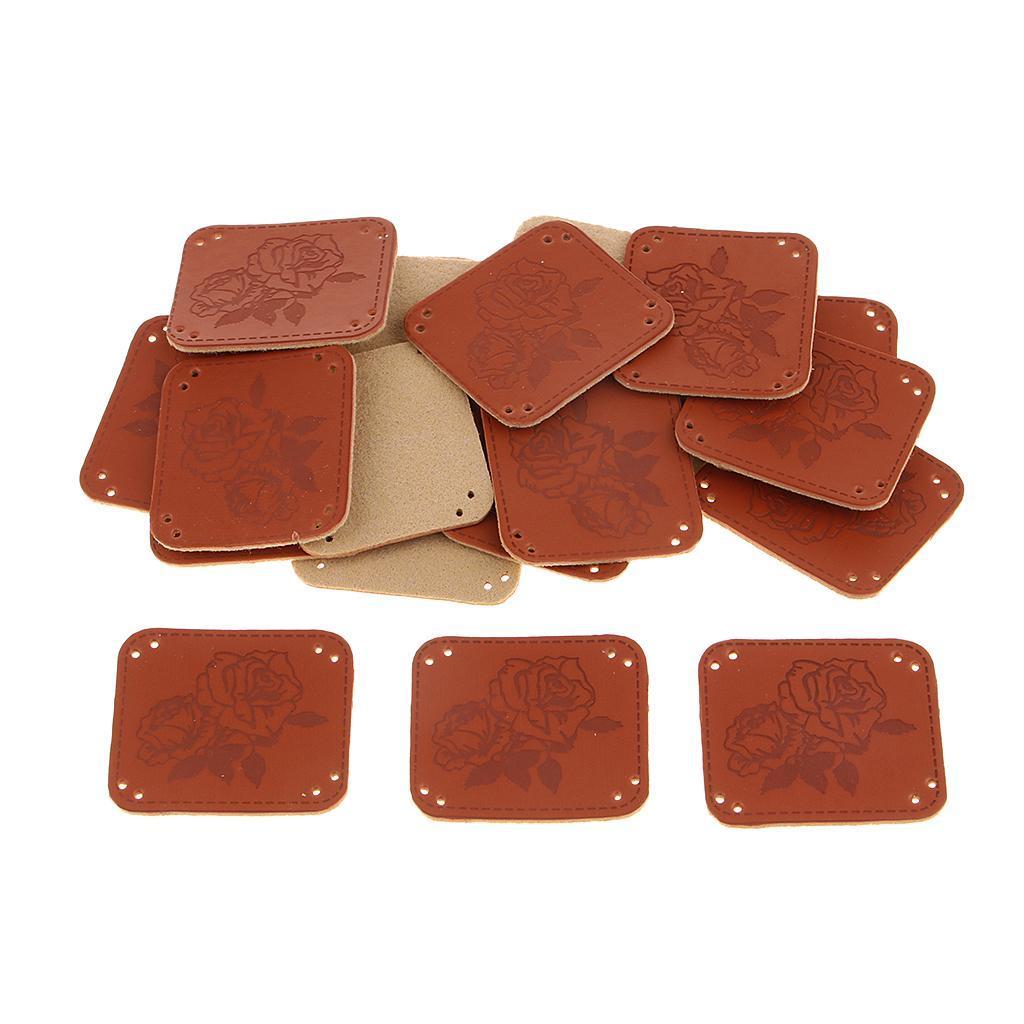 miniatura 11 - Etichette in pelle PU da 20 pezzi per cucire toppe per vestiti Artigianato fatto