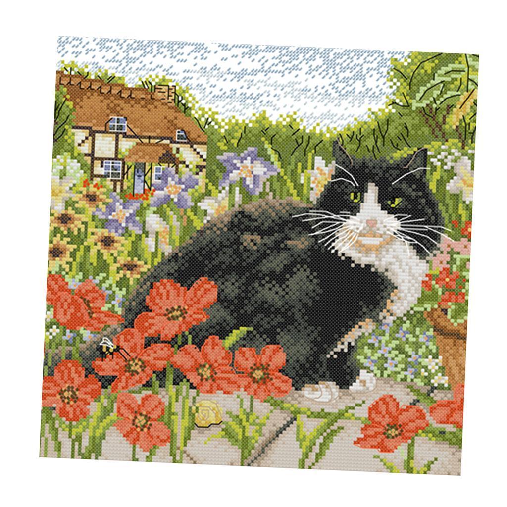Adultes-enfants-bricolage-mignon-chat-floral-Kit-de-point-de-croix-pre-imprime miniature 4
