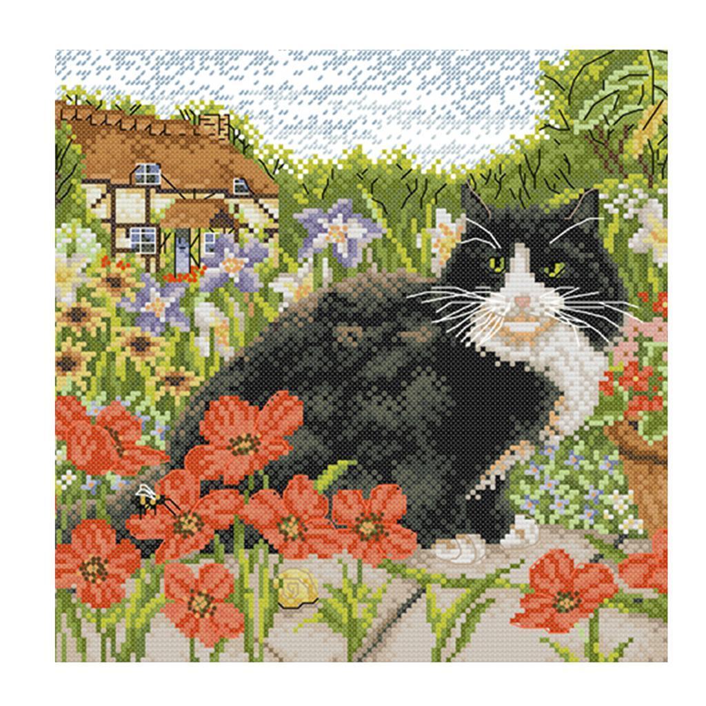 Adultes-enfants-bricolage-mignon-chat-floral-Kit-de-point-de-croix-pre-imprime miniature 3