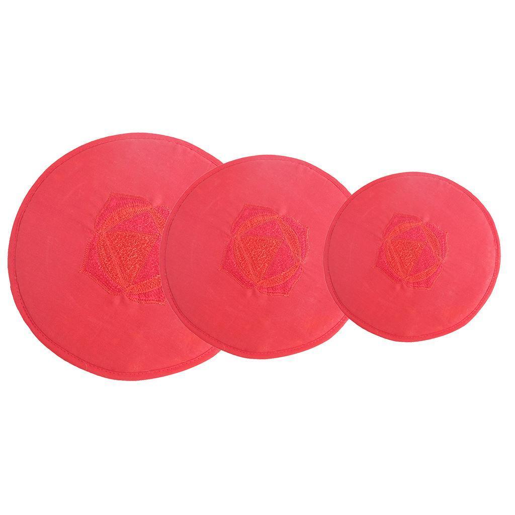 Tessuto-Rotondo-Tibetano-Singing-Bowl-Cuscino-per-Dharma-Buddhismo-Rosso miniatura 11