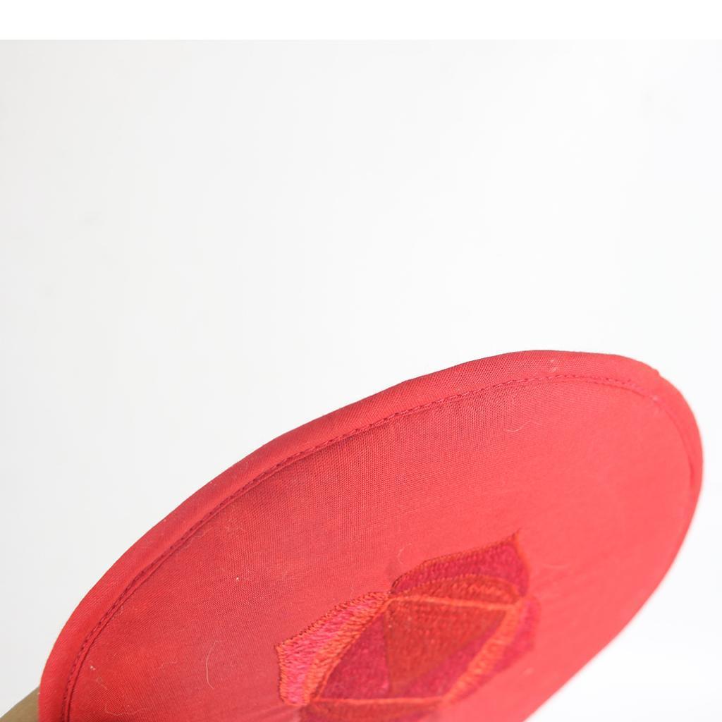 Tessuto-Rotondo-Tibetano-Singing-Bowl-Cuscino-per-Dharma-Buddhismo-Rosso miniatura 14