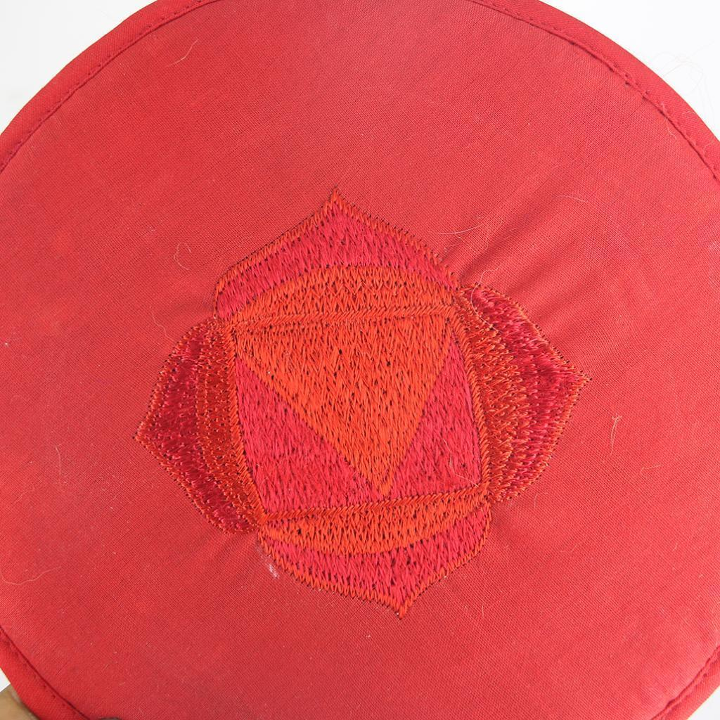 Tessuto-Rotondo-Tibetano-Singing-Bowl-Cuscino-per-Dharma-Buddhismo-Rosso miniatura 16