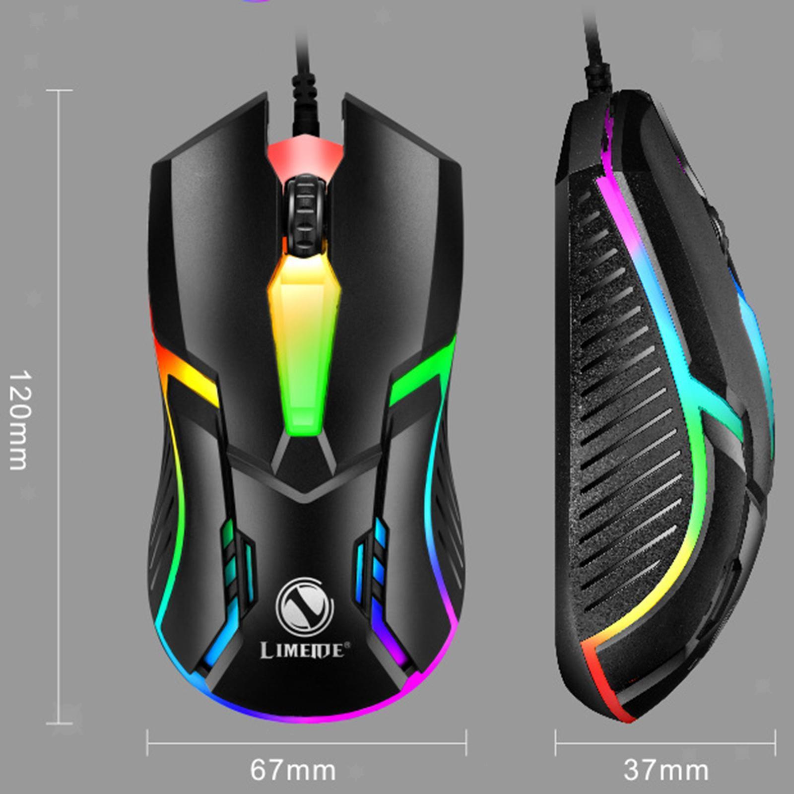 miniatura 6 - Mouse da gioco cablato luminoso USB E-Sports Mouse da gioco per PC 2400 DPI
