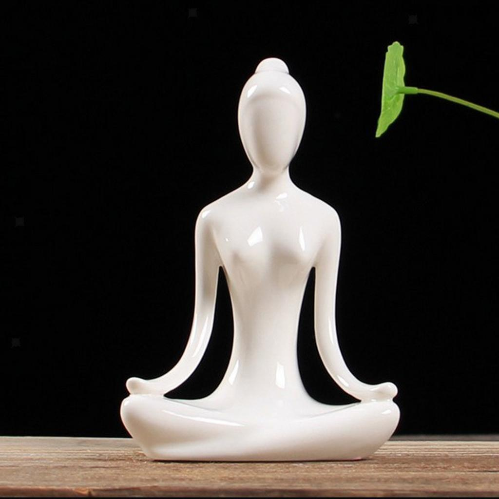 Ceramic-Yoga-Figurine-Statue-Collections-Craft-Gift-Home-Zen-Garden-Decor thumbnail 19