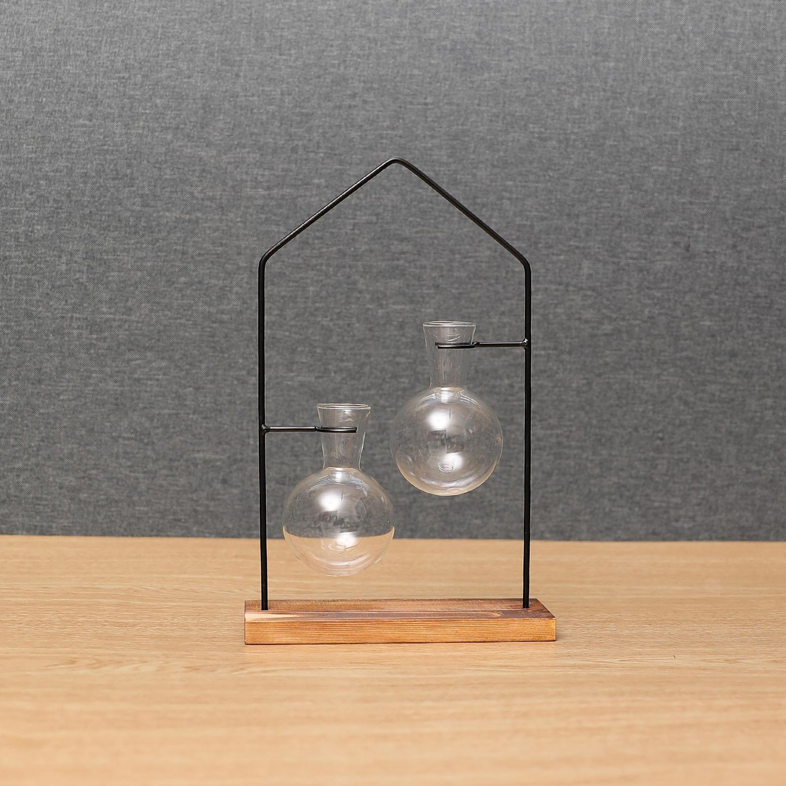 thumbnail 7 - Hydroponic Bonsai Plant Glass Vase Flower Pot Wood Stand Desk Decor