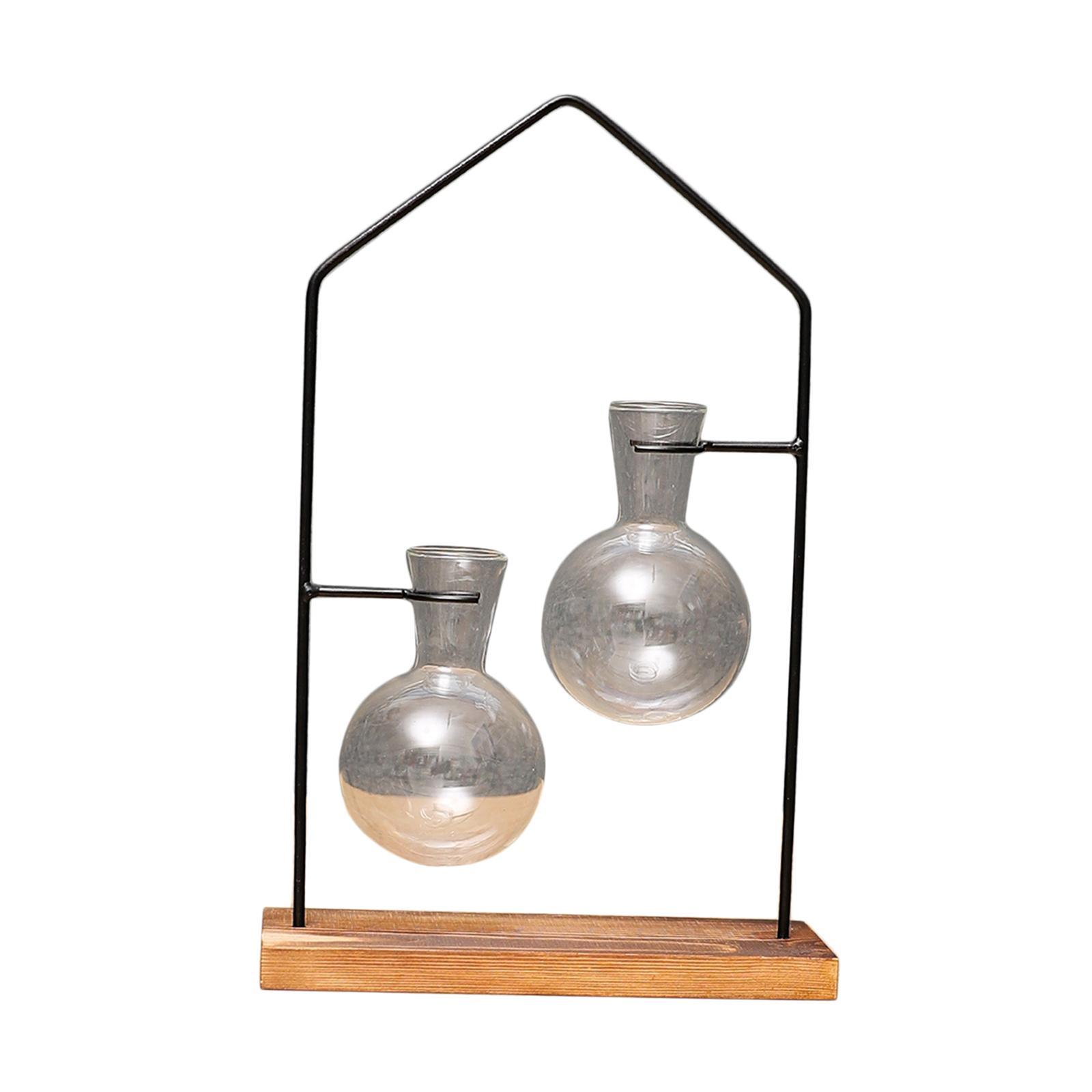 thumbnail 6 - Hydroponic Bonsai Plant Glass Vase Flower Pot Wood Stand Desk Decor