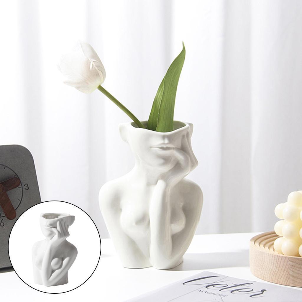 Indexbild 6 - Abstrakte Keramik Vase für weibliches Gesicht Niedliche Blumentöpfe Kleiner