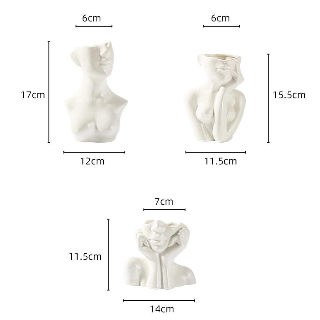 Indexbild 7 - Abstrakte Keramik Vase für weibliches Gesicht Niedliche Blumentöpfe Kleiner