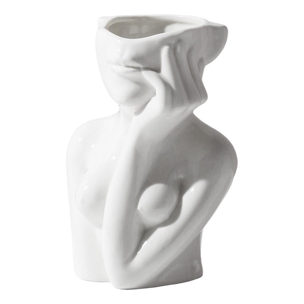 Indexbild 7 - Abstrakte Keramik Mädchen Form Gesicht Vase Chic Kopfform Vase Blumentöpfe