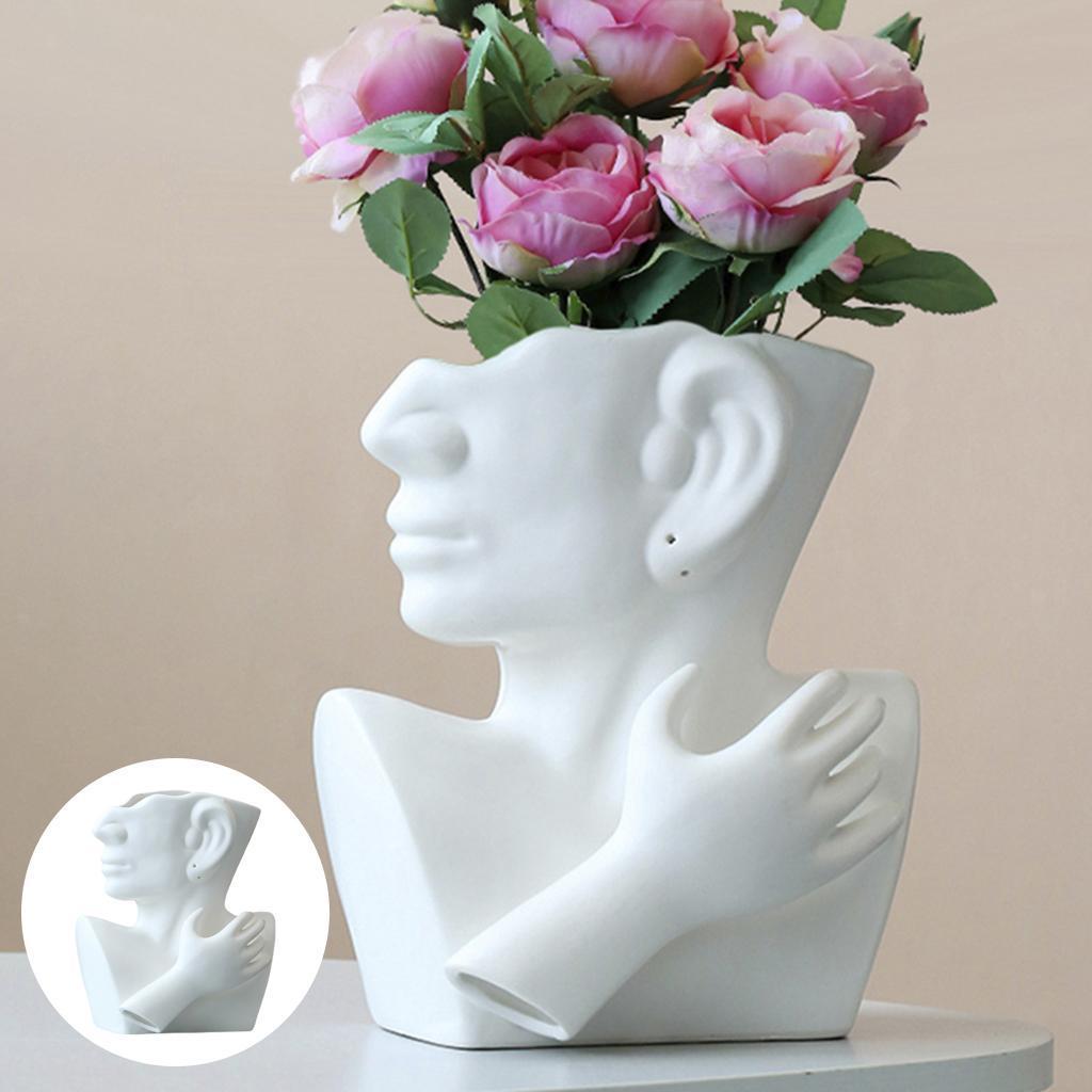 Indexbild 8 - Kreative Keramik Gesicht Vase Blumentöpfe Portrait Home Wohnzimmer