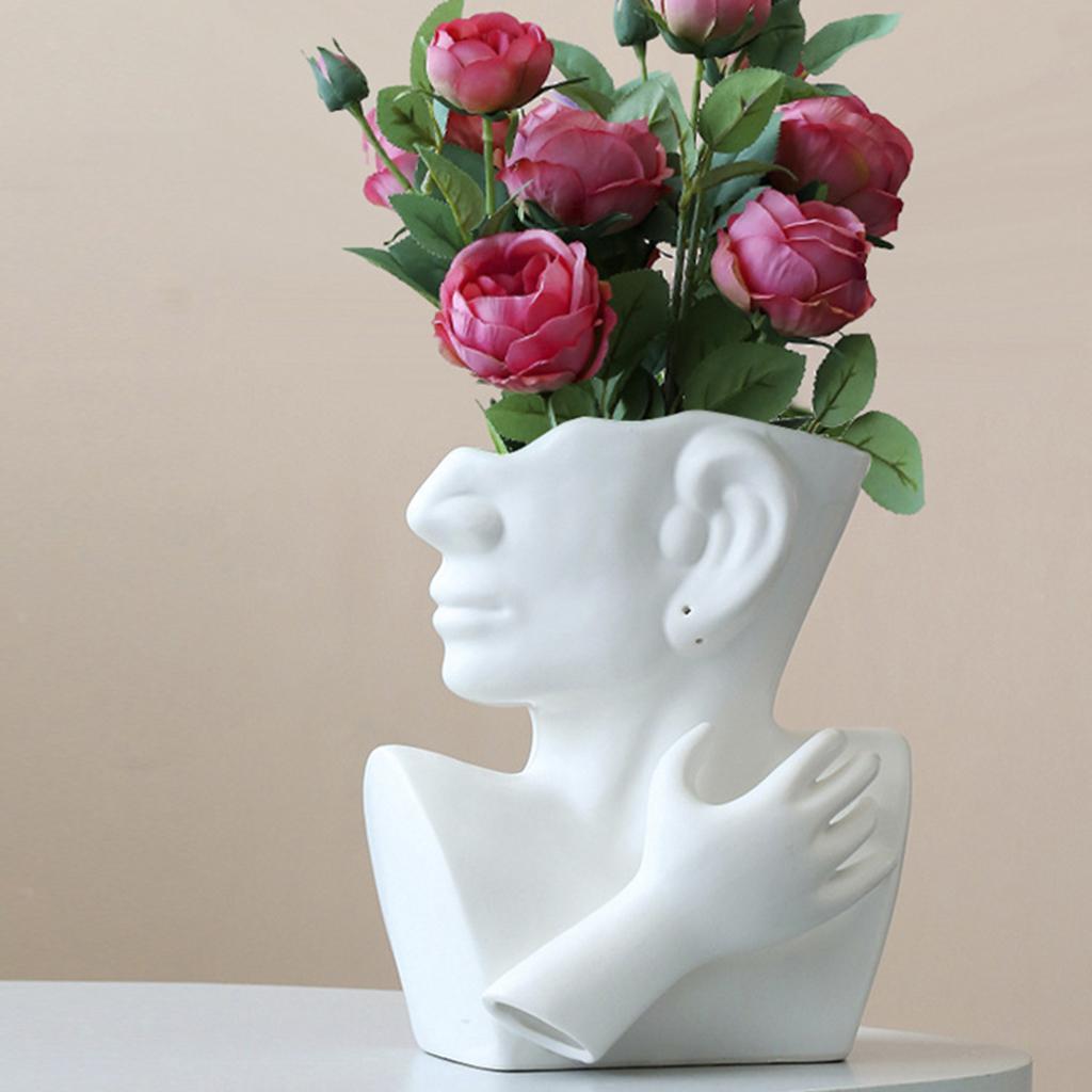 Indexbild 11 - Kreative Keramik Gesicht Vase Blumentöpfe Portrait Home Wohnzimmer