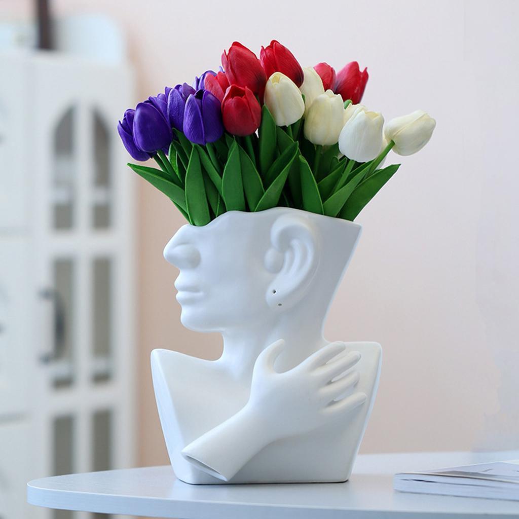 Indexbild 10 - Kreative Keramik Gesicht Vase Blumentöpfe Portrait Home Wohnzimmer