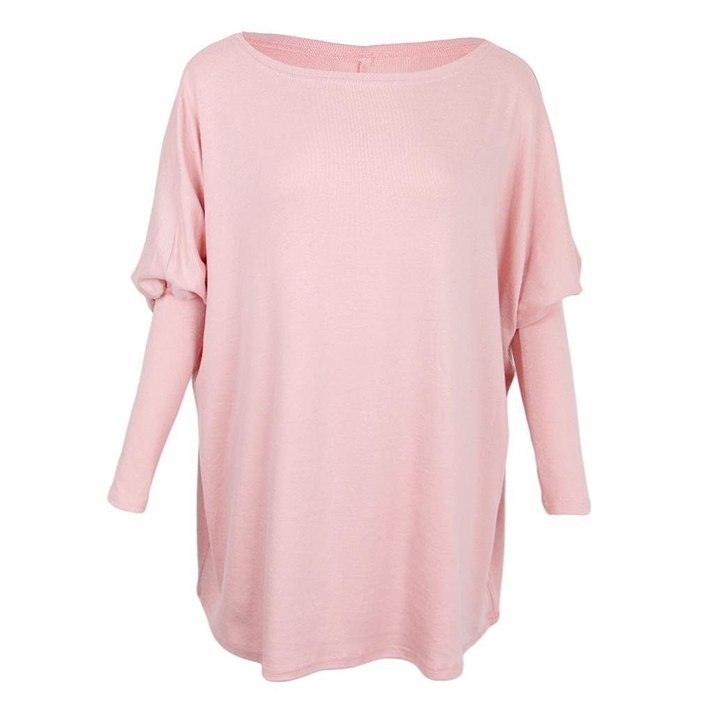 Womens-Long-Batwing-Sleeve-Solid-Pullover-Tops-Casual-Loose-Oversized-Shirts thumbnail 24