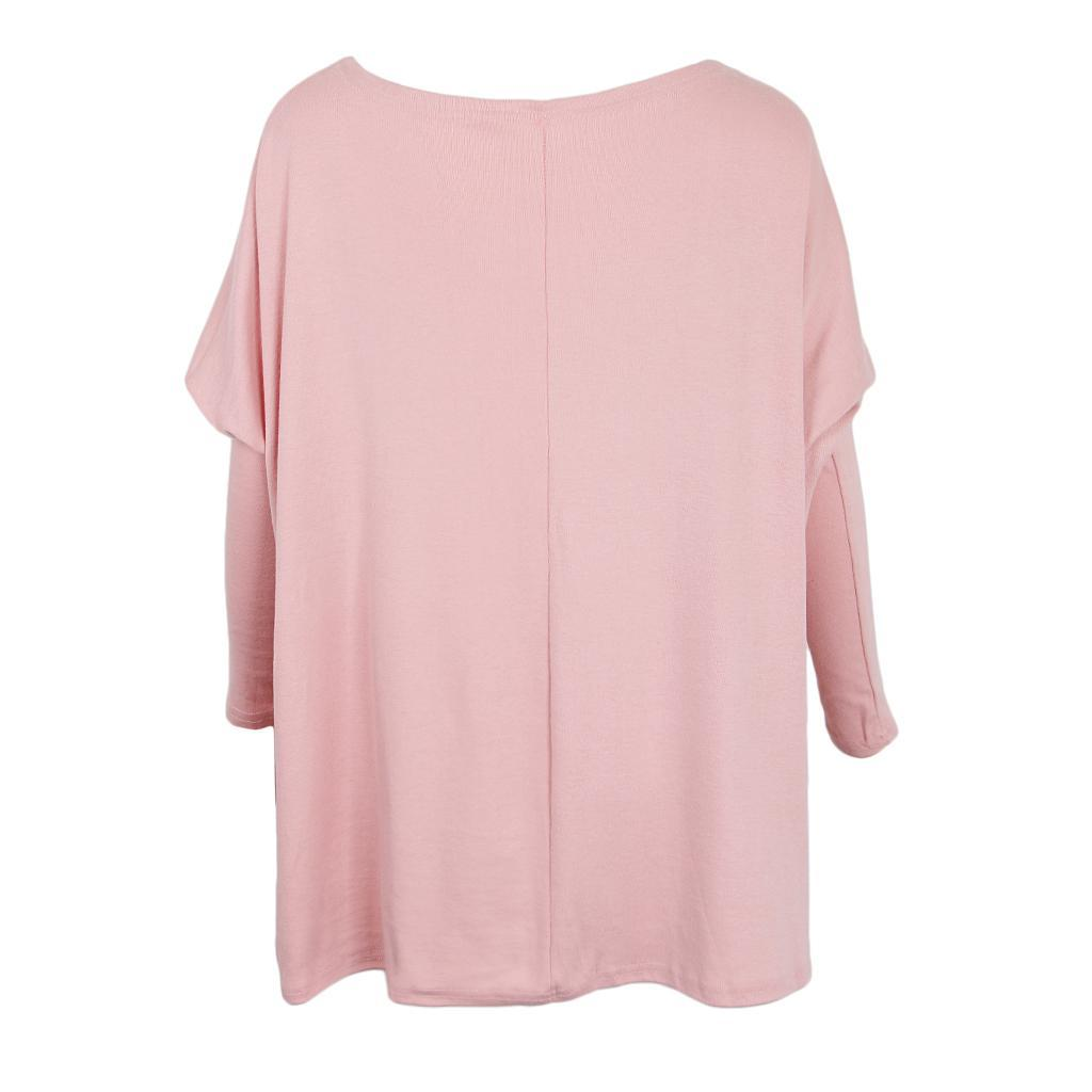 Womens-Long-Batwing-Sleeve-Solid-Pullover-Tops-Casual-Loose-Oversized-Shirts thumbnail 25