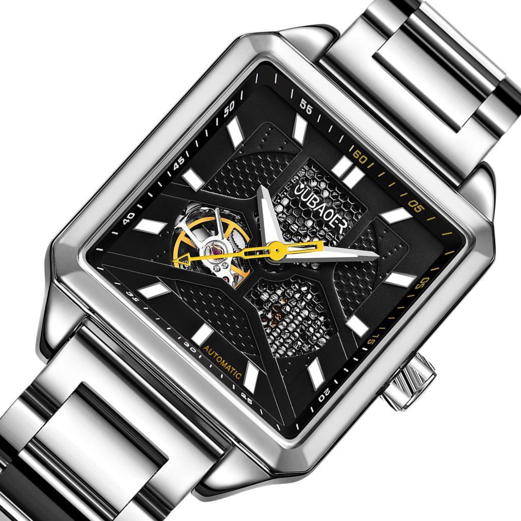 Herren-Armbanduhr-Automatische-Mechanische-Skelett-Armbanduhr-aus-Edelstahl-fuer Indexbild 10