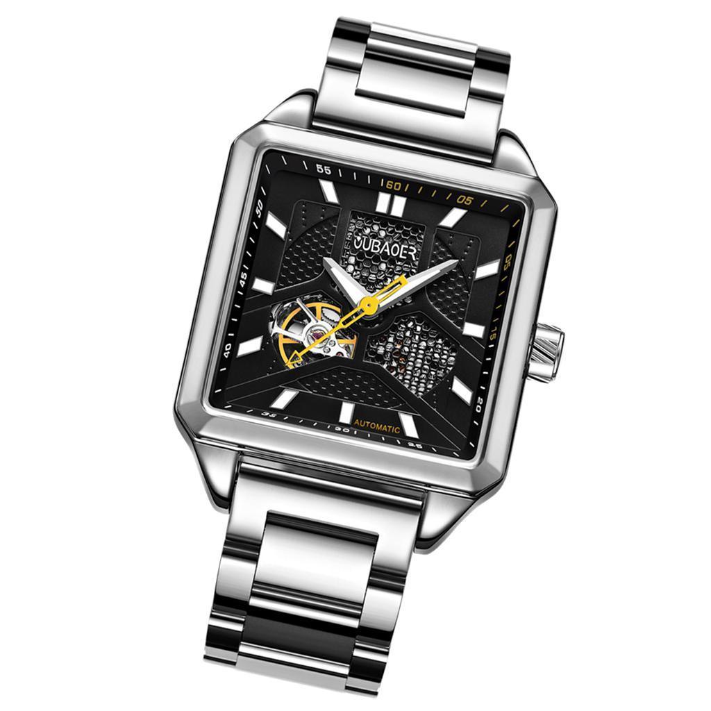 Herren-Armbanduhr-Automatische-Mechanische-Skelett-Armbanduhr-aus-Edelstahl-fuer Indexbild 9