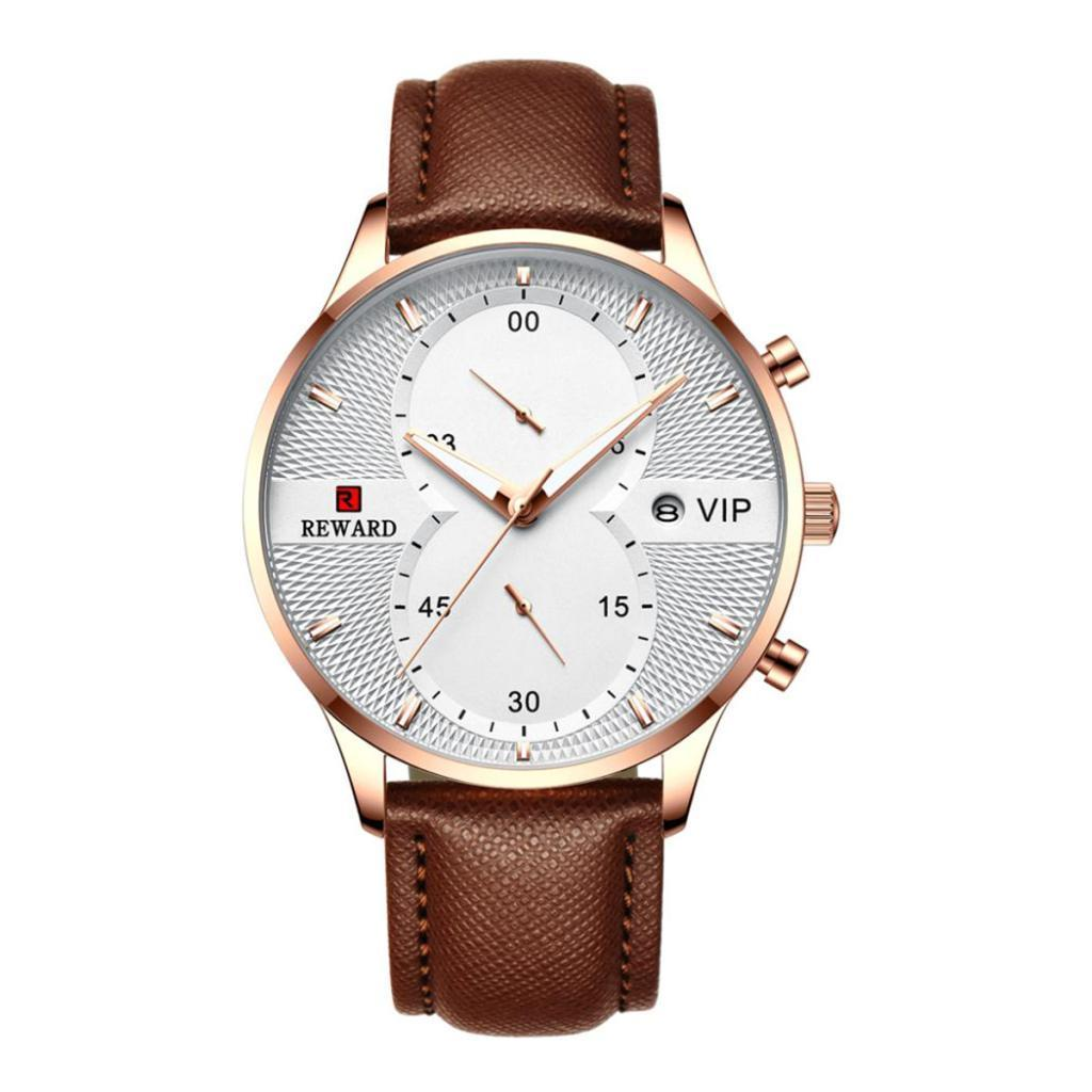 Indexbild 4 - Herrenuhr-Mode-Wasserdicht-Analog-Quarz-Uhr-mit-PU-Leder-Armband-Datum