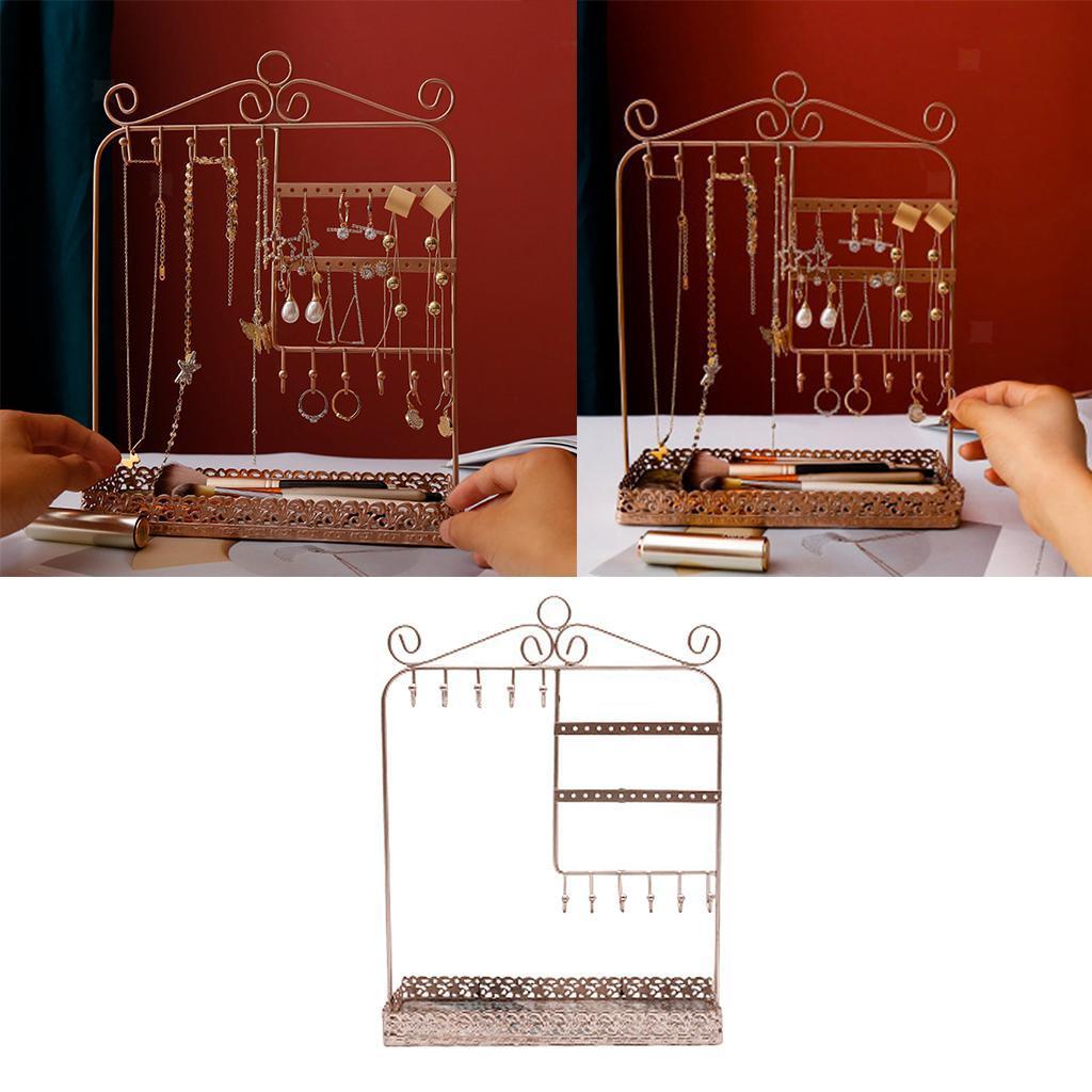 Indexbild 17 - Alle-in-1 Ohrring Halskette Schmuck Display Zeigen Rack Metall Ständer Halter