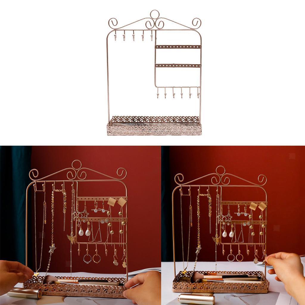 Indexbild 18 - Alle-in-1 Ohrring Halskette Schmuck Display Zeigen Rack Metall Ständer Halter