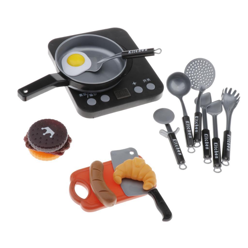 Set-Da-Gioco-In-Plastica-Per-Alimenti-E-Utensili-Da-Cucina-Per-Bambini miniatura 6