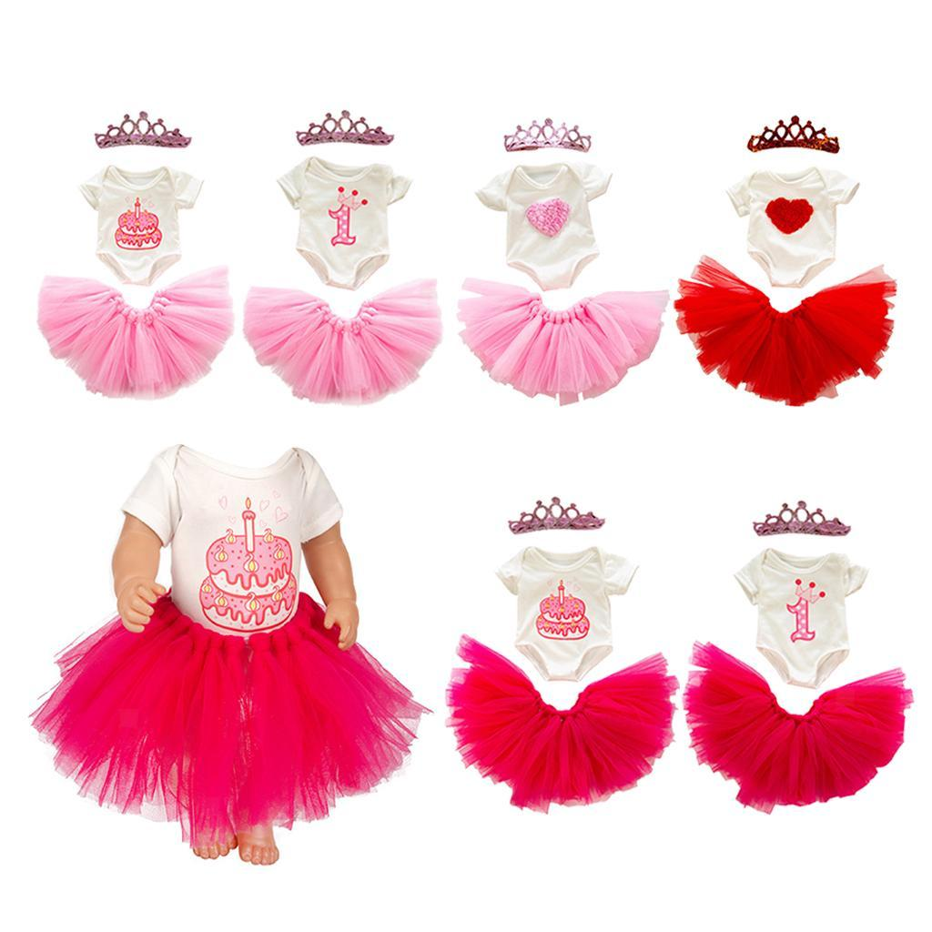 Details about  /18inch Dolls Sweet Princess Skirt Bodysuit /& Crown Set Cute Dress for Girls Toy