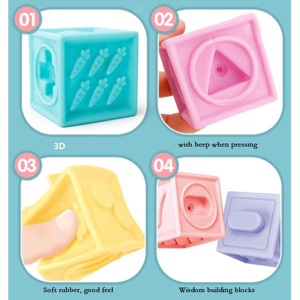 thumbnail 11 - Cartoon Baby Grasp Building Blocks 3D Embossed Touch Stacking Balls Squeeze