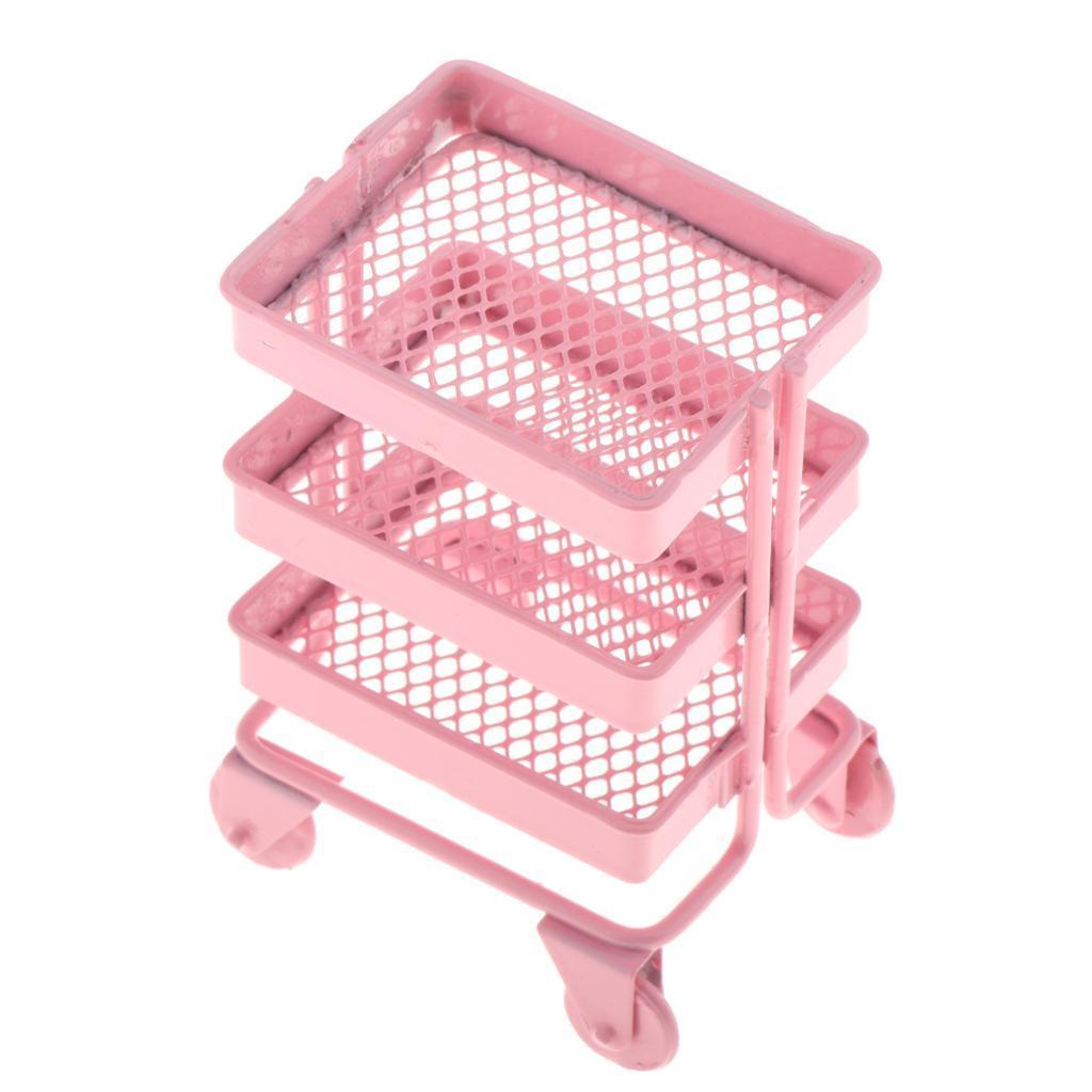 thumbnail 6 - 1/12 3 Tier Storage Shelf Rack w/ 4 Wheels for Dollhouse Kitchen Decor Accs