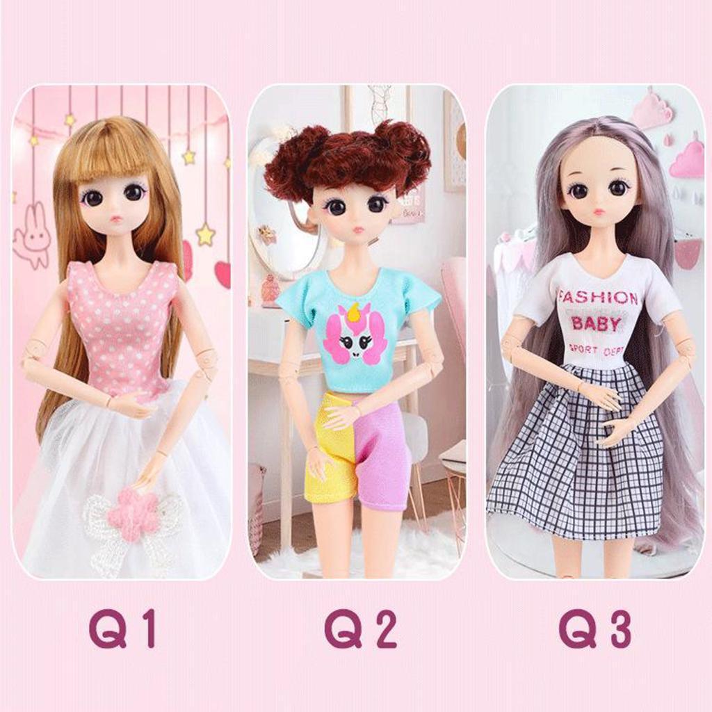 30cm-1-6-Scale-Flexible-BJD-26-Jointed-Girl-Doll-Nude-Body-w-Hair-DIY thumbnail 24
