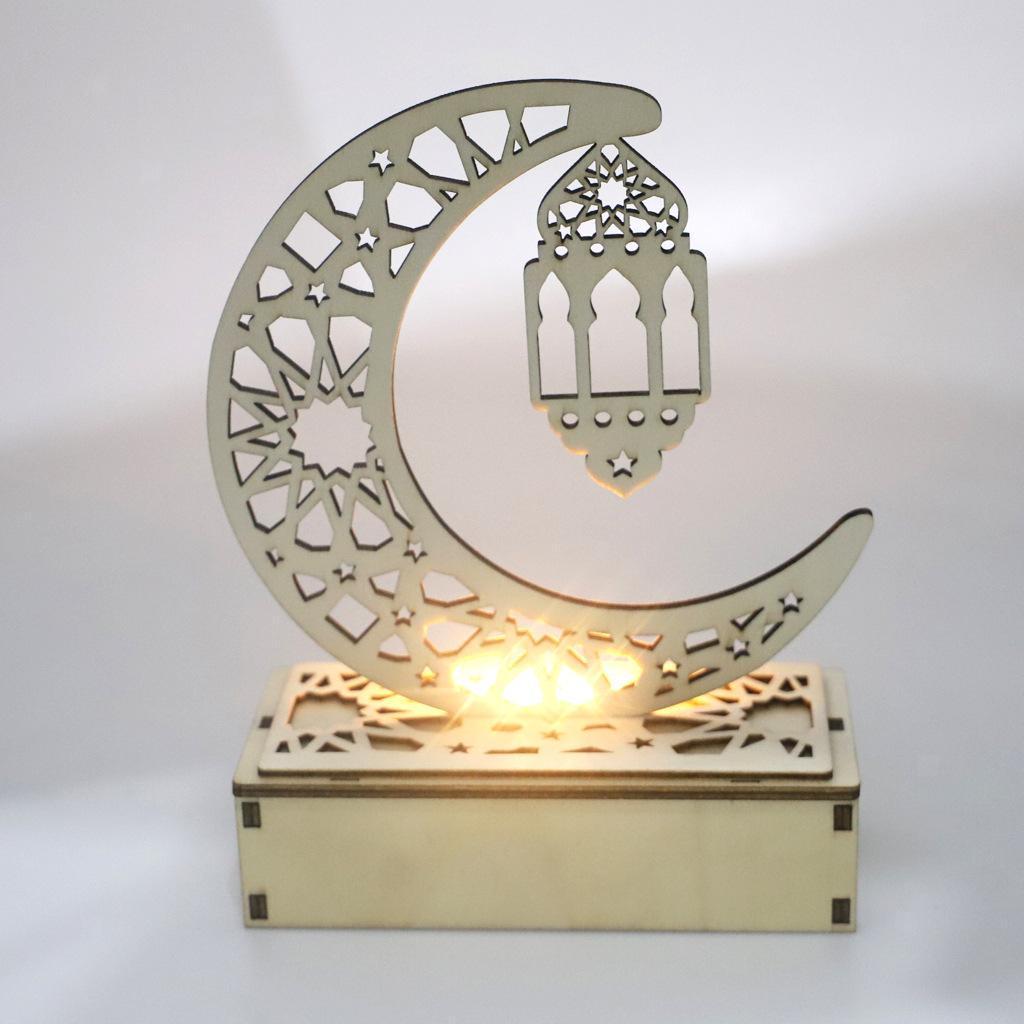Decorations-En-Bois-Eid-Mubarak-Decorations-Fournitures-De-Fete-Musulmane miniature 4