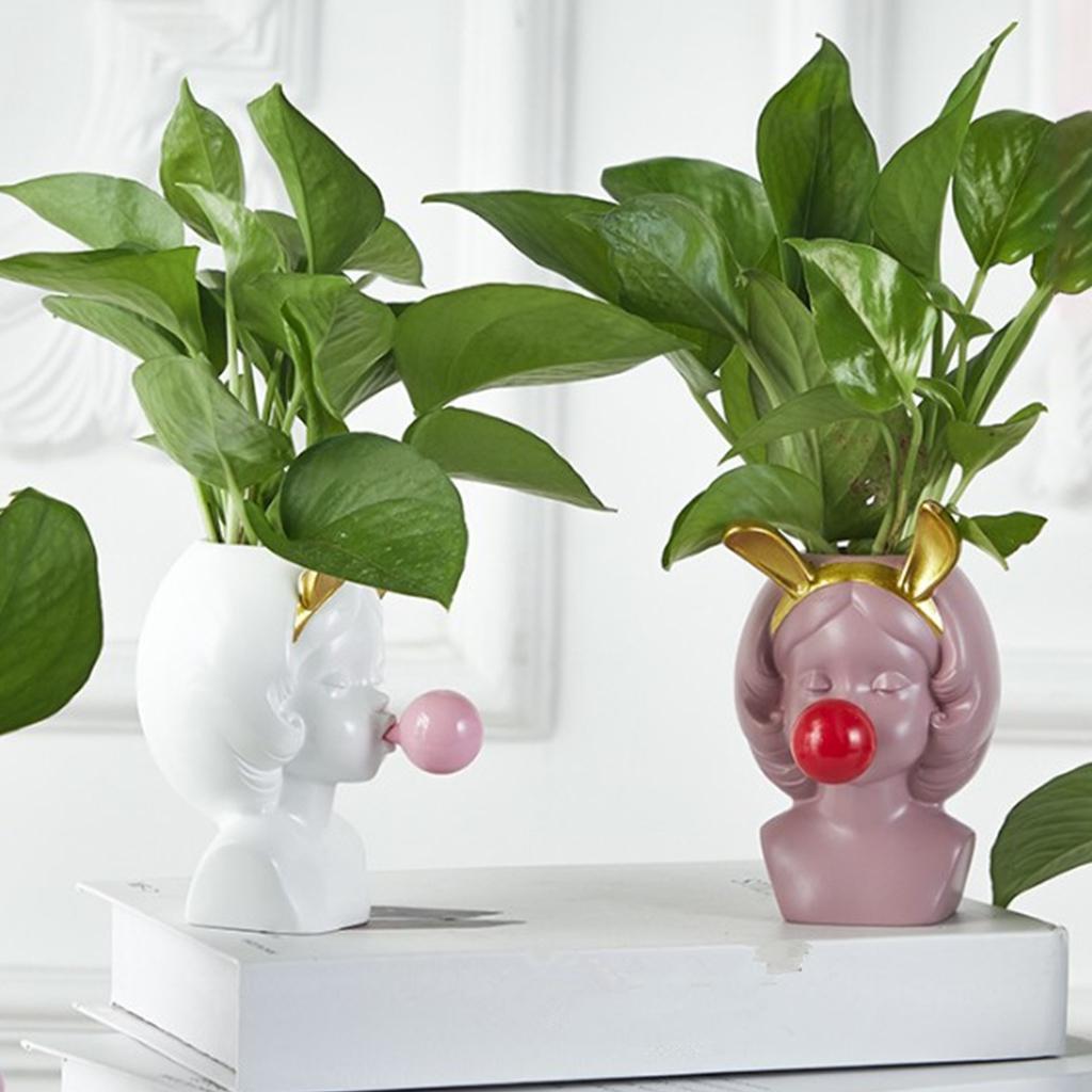 Cute Girl Blow Bubbles Succulent Plant Pot// Tabletop Planter Box Green/_1