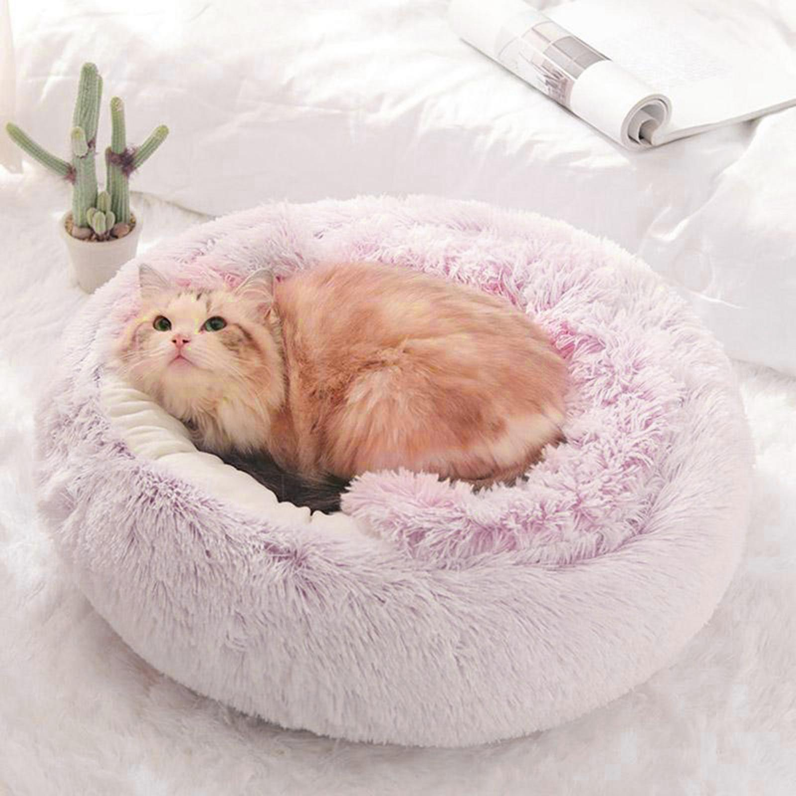 thumbnail 20 - Plush Pet Dog Cat Bed Fluffy Soft Warm Calming Bed Sleeping Kennel Cave Nest