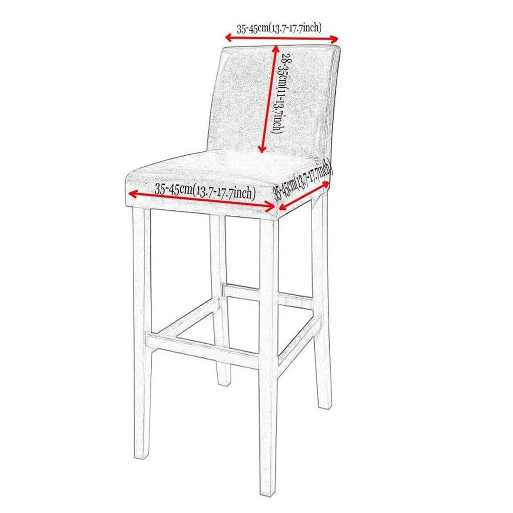 miniature 11 - Housse De Chaise Courte à Dossier Bas, Hauteur De Comptoir, Tabouret B_Gray