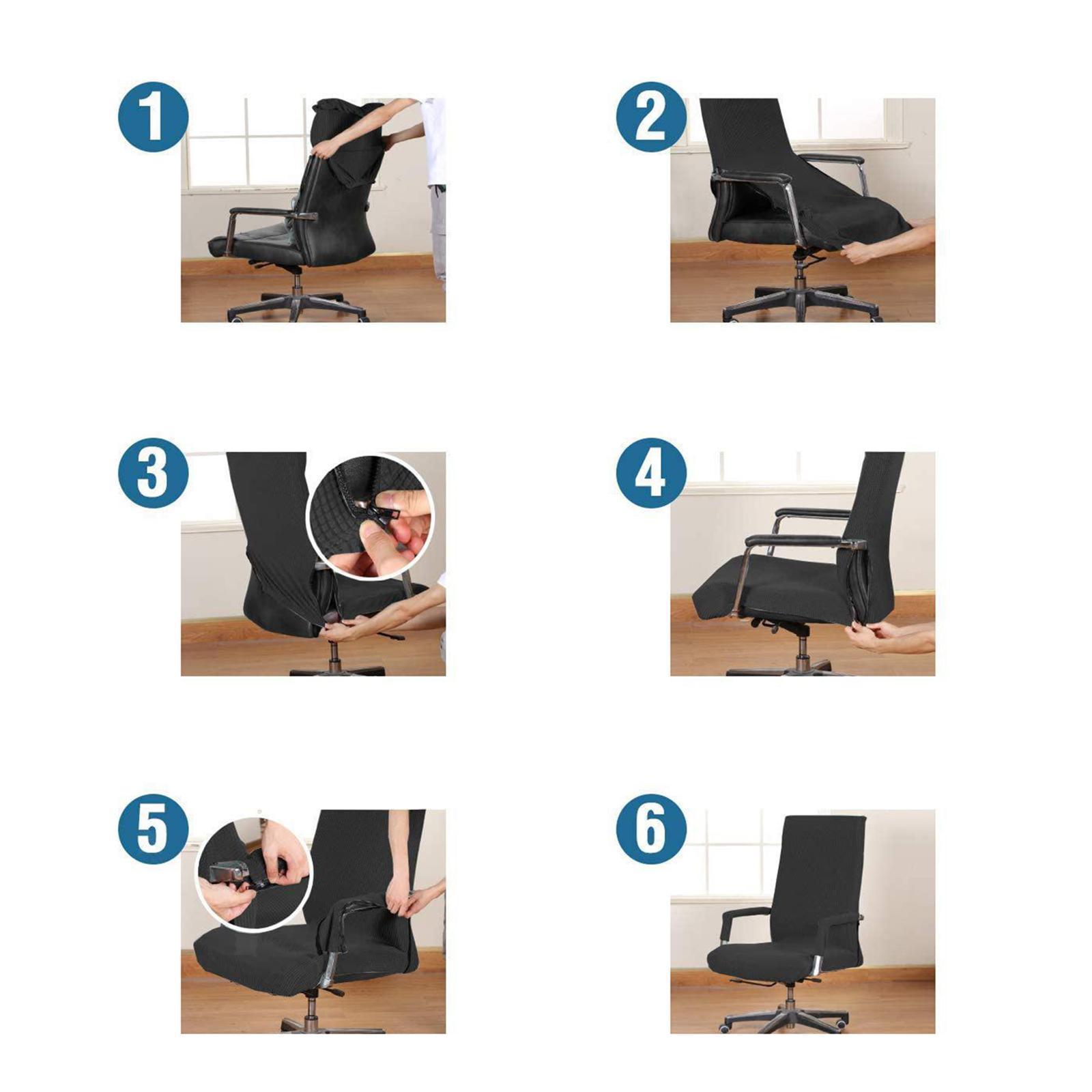 miniature 36 - Housses de chaise de bureau contemporaines à dossier haut et 2 housses de bras