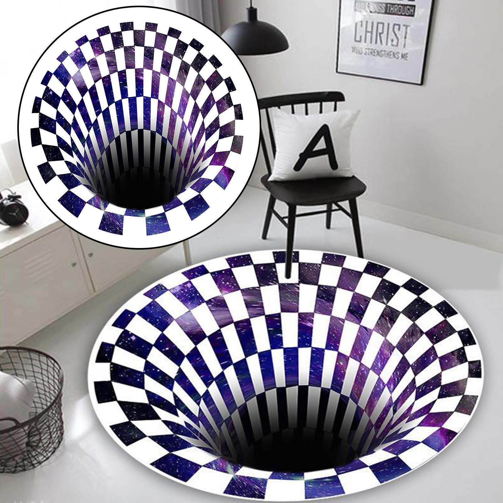 miniatura 3 - Tappetino-per-tappetino-antiscivolo-con-motivo-a-vortice-rotondo-3D