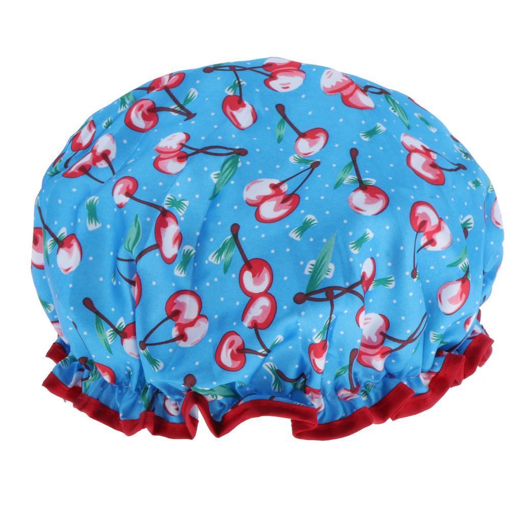 Bonnets-de-Douche-Impermeables-et-Reutilisables-pour-Femmes-Double-Couche-Spa miniature 3