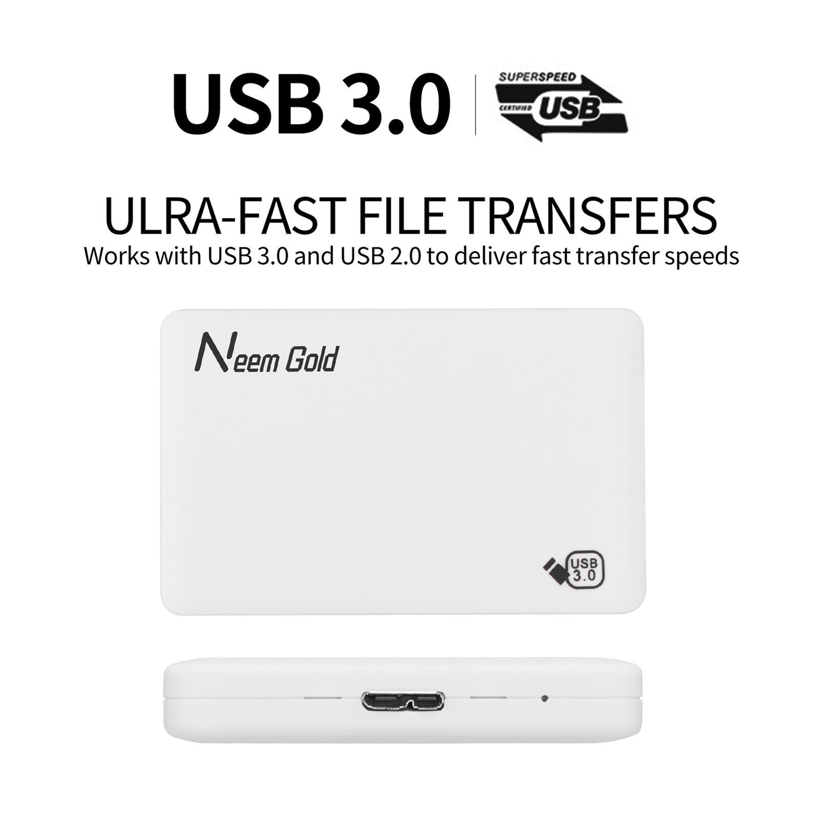 miniature 15 - ABS External Portable USB 3.0 Hard Drive Disk HDD for Desktop Laptop New