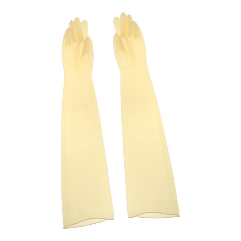 Indexbild 8 - 1-Paar-70cm-industrielle-Anti-Saeure-Alkali-Gummihandschuhe-gelb