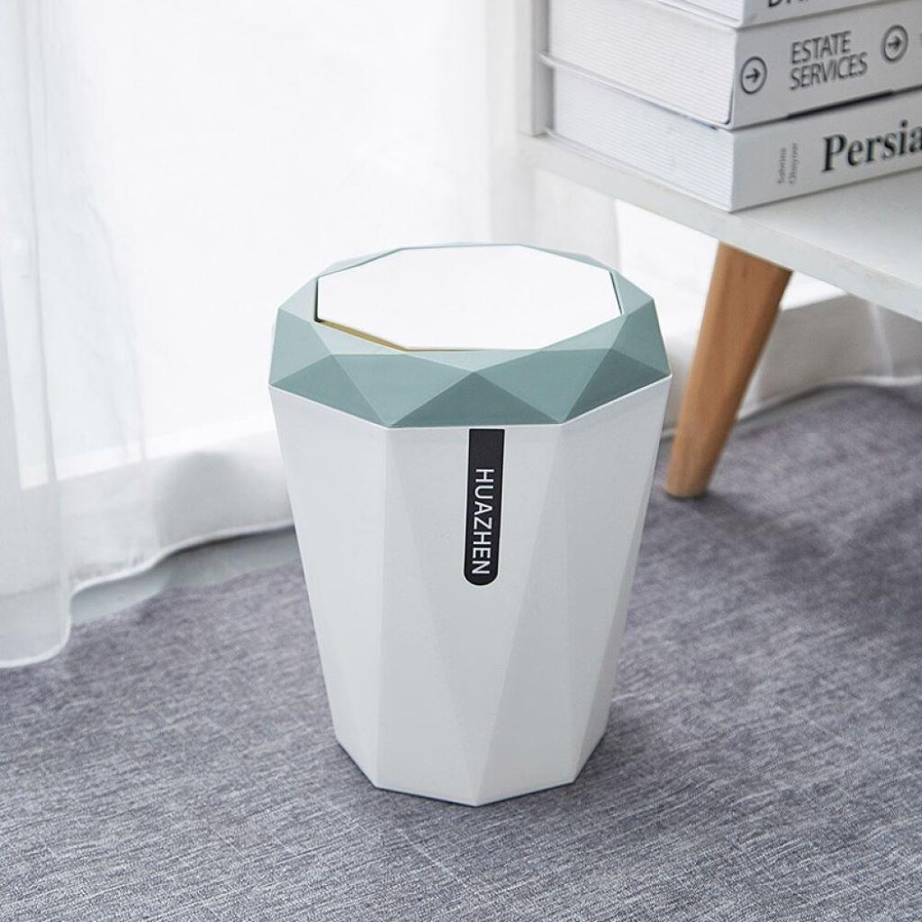 Plastic Trash Can Garbage Bin Waste Paper Container With Lid For Bathroom Ebay