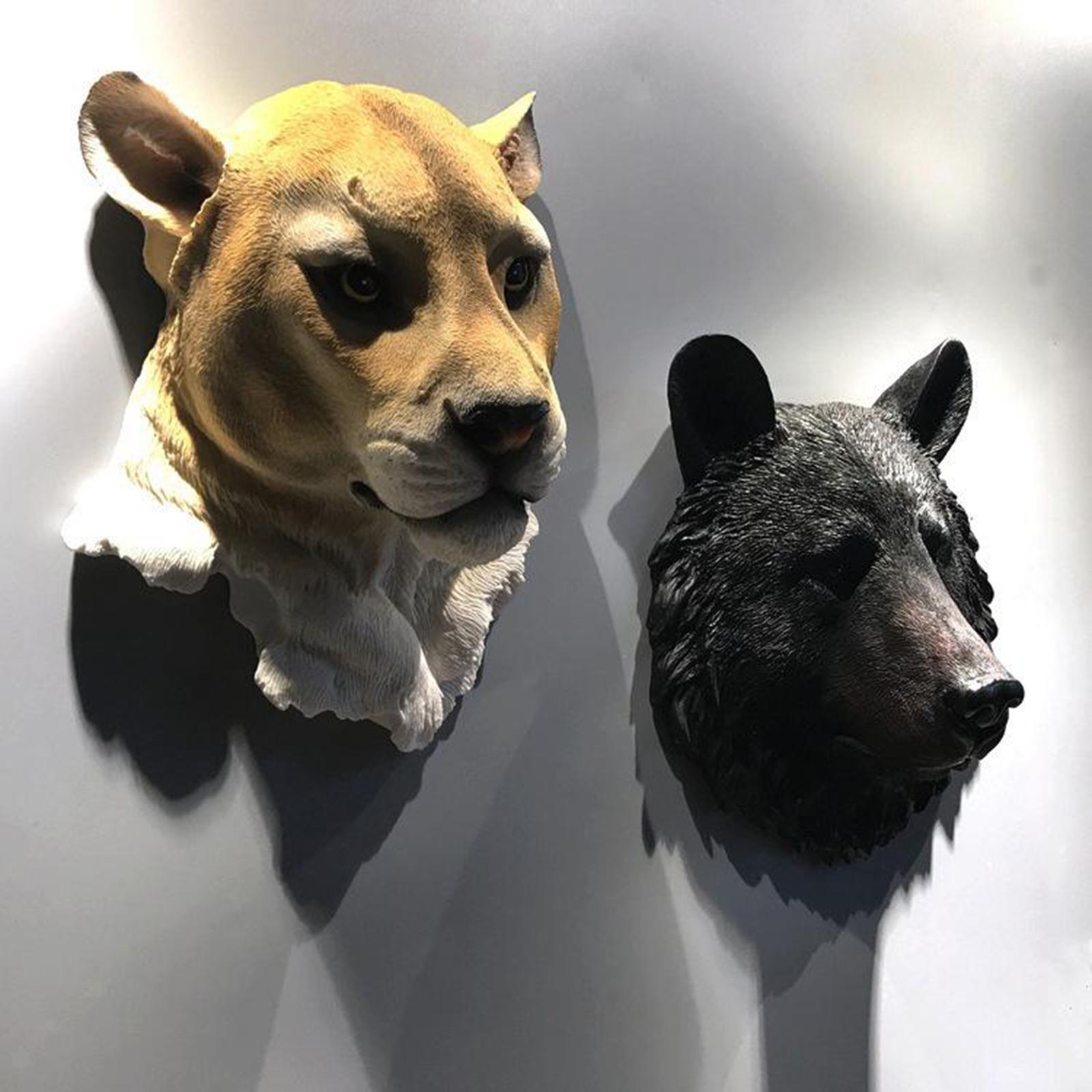miniatura 6 - Parete Appeso Novità Realistico In Resina Testa di Animale Decorazione di