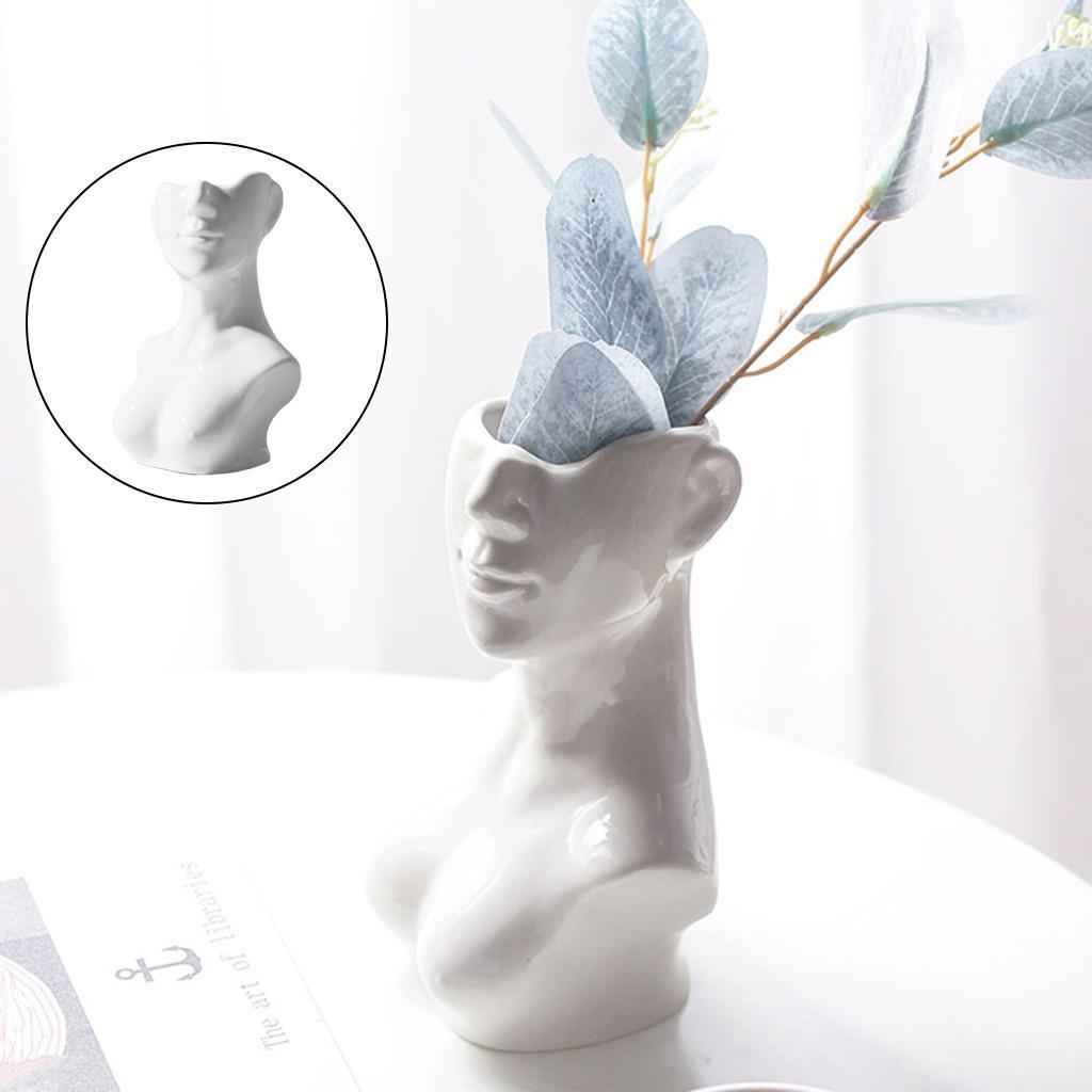 Indexbild 10 - Abstrakte Keramik Mädchen Form Gesicht Vase Chic Kopfform Vase Blumentöpfe