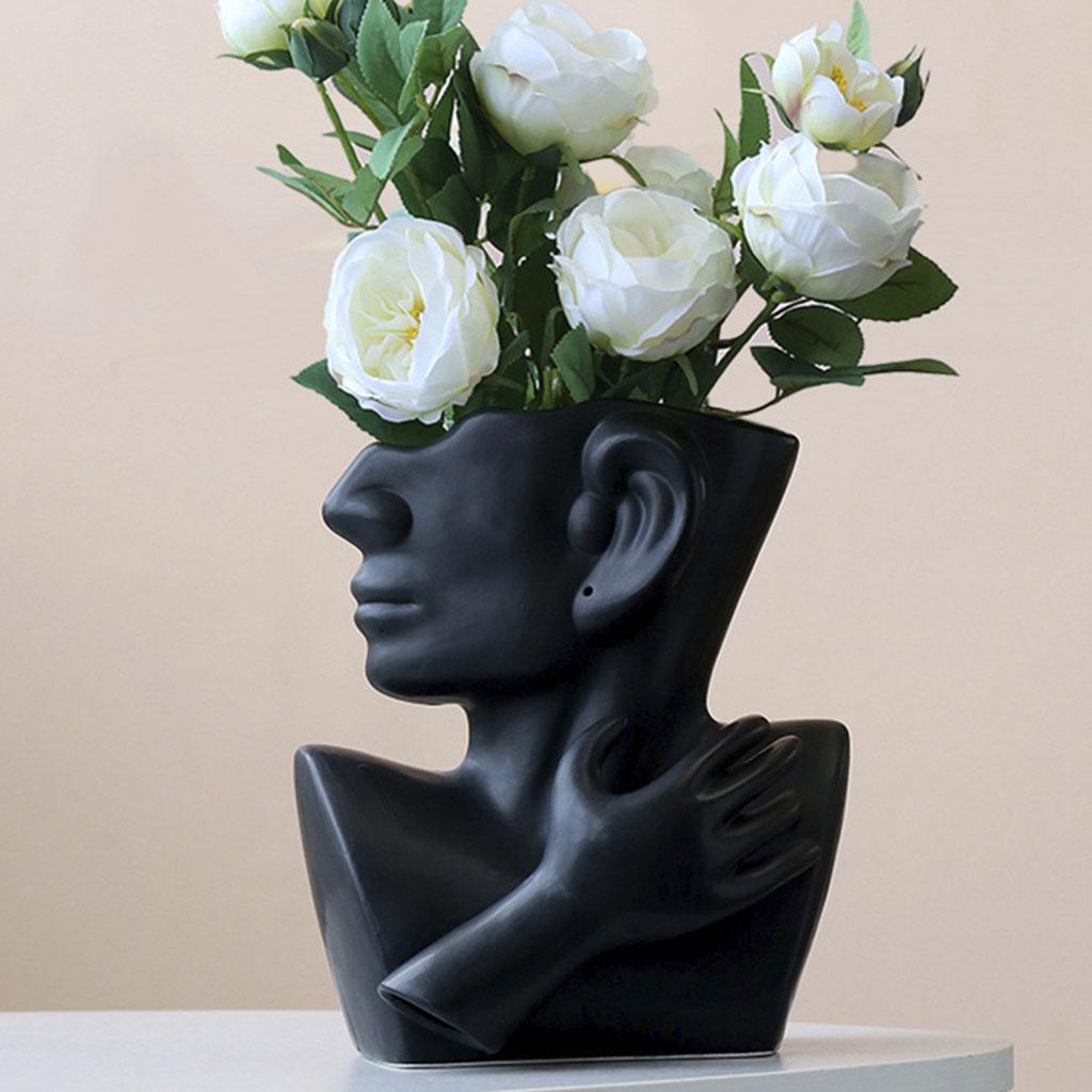 Indexbild 21 - Kreative Keramik Gesicht Vase Blumentöpfe Portrait Home Wohnzimmer